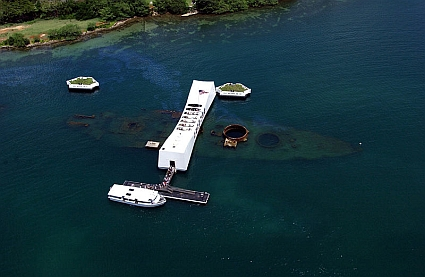An aerial view of the USS Arizona Memorial.