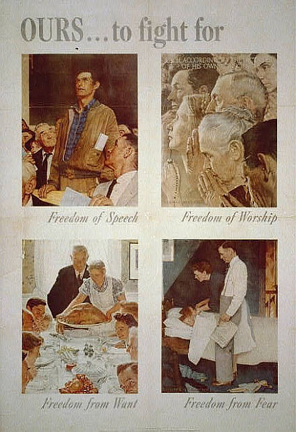 Four Freedoms series painted by Norman Rockwell in 1943.