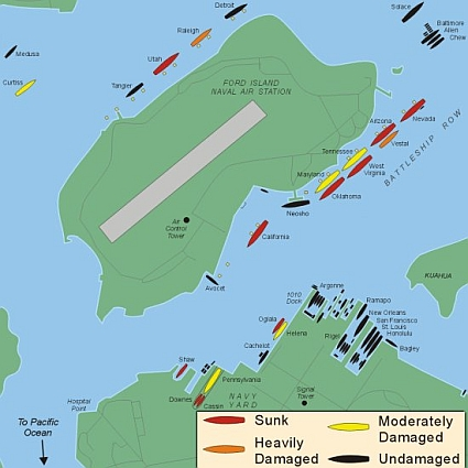 Map of Ships in Pearl Harbor.