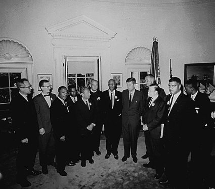 President John F. Kennedy meets with Dr. Martin Luther King, Jr.