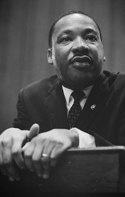Dr. Martin Luther King Jr. speaking in a press conference