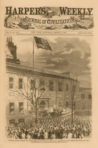 Harper's Weekly cover for March 9th of 1861 highlighted Lincoln raising the 34 star flag at Independence Hall