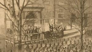 Lincoln raising the 34 star flag in Philadelphia on Washington's Birthday in 1861