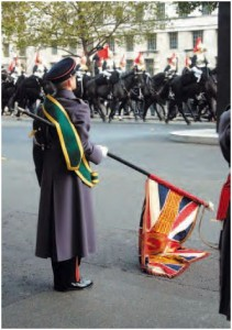 Trailing the flag at a British Parade, a courtesy to the monarch.