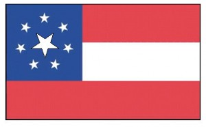 The Confederate flag flown over the Marshall House Inn, when Union troops entered Alexandria, had an additional large star for the state of Virginia which had just seceded.