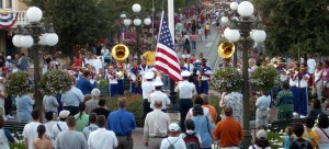 The 2004 Disney All-American College Band plays at Disneyland's daily flag ceremony
