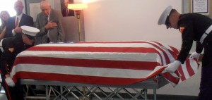 Is it proper to display a flag which draped a casket?